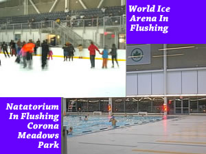 Queens Ice Rink & Olympic Indoor Swim Pool - Flushing Queens | Map Queens Olympic sized indoor swimming pool World Class Ice Rink Arena Flushing neighborhood Queens NY parks department facility Flushing Meadows Corona Park