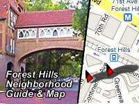 Forest Hills Neighborhood Attractions Map & Guide - Queens NY | A map of cultural and entertainment organizations and attractions in Forest Hills and northeast sections of Queens NY including Bayside and Whitestone, the Douglaston Golf Course, 63-20 Marathon Parkway, Douglaston, NY