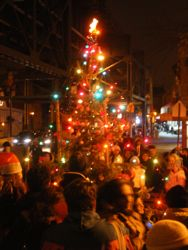xmas tree lighting in woodside queens ny nyc