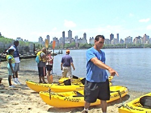 kayaking in Queens in east river LIC Boathouse Long Island City NY