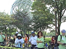 cyclists bicycling Queens NY