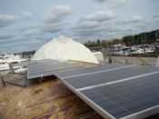 solar power panels atop the waterpod barge 2009 queens ny