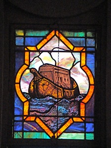 stained glass window of noah's ark