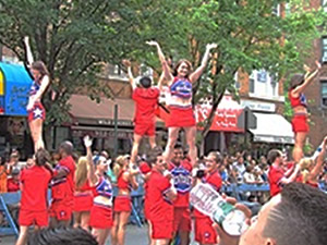 cheerleaders at lgbt parade jackson heights
