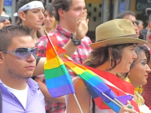 photos of crowd at lgbt parade en jackson heights