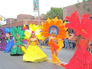 costumed participants in gay parade in jackson heights