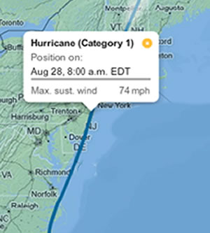 hurricane irene map
