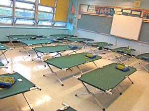 cots in evacuation center in queens