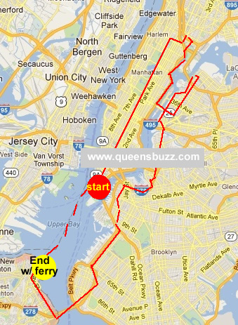 5 boro bike ride map 2012 map of queens segment of 5 boro bike tour queens map