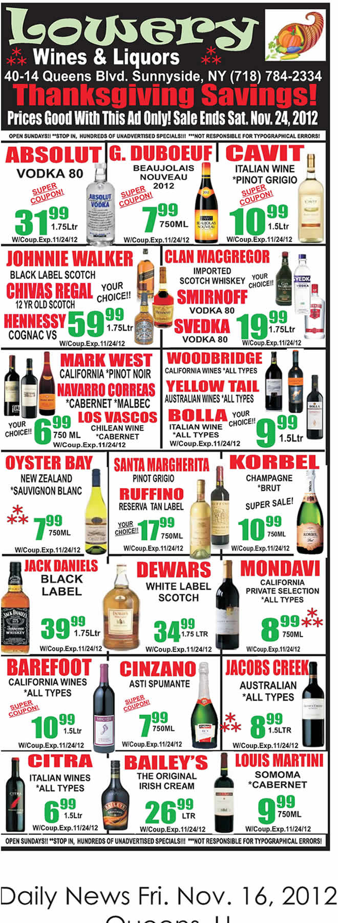 wine liquor holiday specials in queens