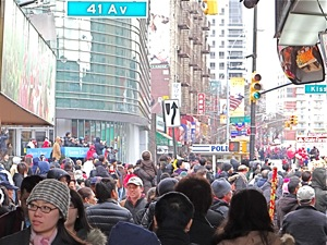 chinese new year parade in queens crowds