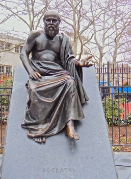 socrates statue photo athens square park queens