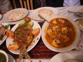 curry shrimp and Borgas fried fish Egyptian food in Astoria Queens NY