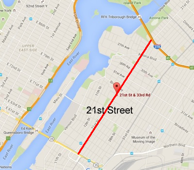 map of 21st street vision zero queens lic astoria long island city