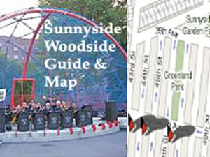 Sunnyside Woodside Map - Things To Do in Sunnyside Woodside Queens | This is a map of the parks, historic sites, cultural & entertainment organizations, restaurants, select shops and MTA links in the Sunnyside / Woodside neighborhoods / sections of Queens.